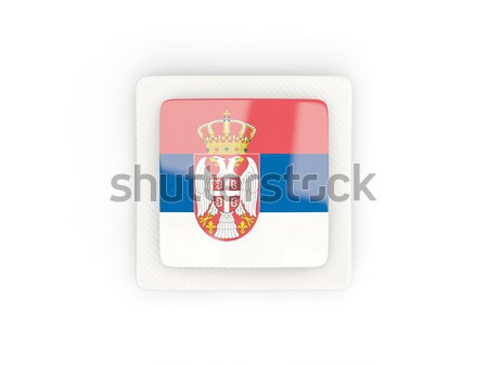 Kare etiket bayrak Sırbistan yalıtılmış beyaz Stok fotoğraf © MikhailMishchenko