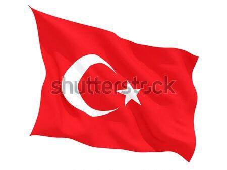 Integet zászló Törökország izolált fehér Stock fotó © MikhailMishchenko