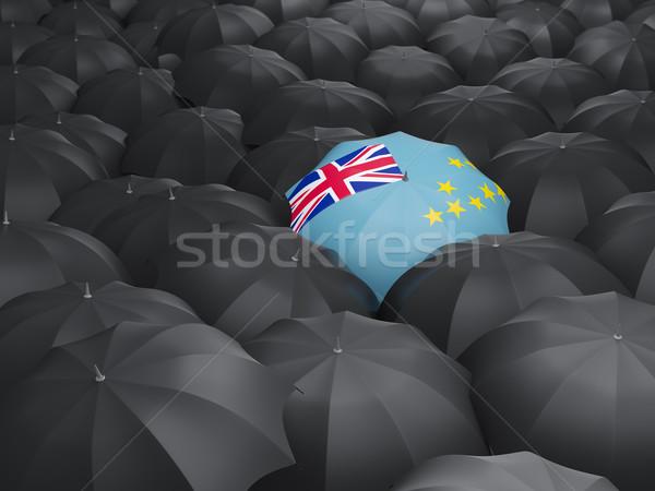 Guarda-chuva bandeira Tuvalu preto guarda-chuvas viajar Foto stock © MikhailMishchenko