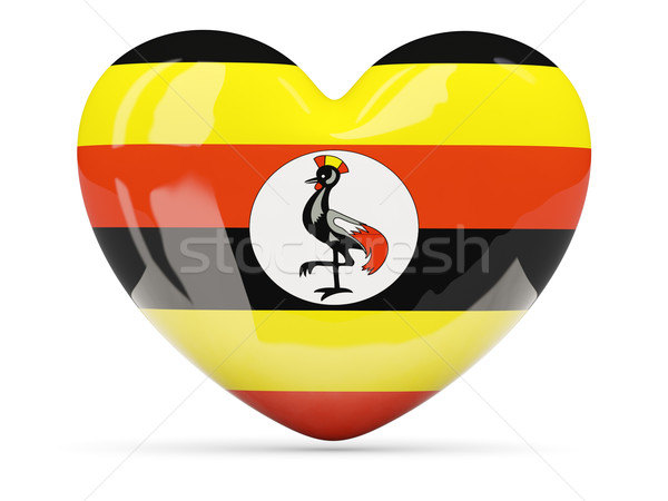 Coeur icône pavillon Ouganda isolé Photo stock © MikhailMishchenko