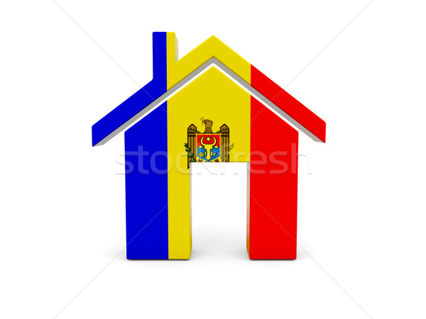 Otthon zászló Moldova izolált fehér keresés Stock fotó © MikhailMishchenko