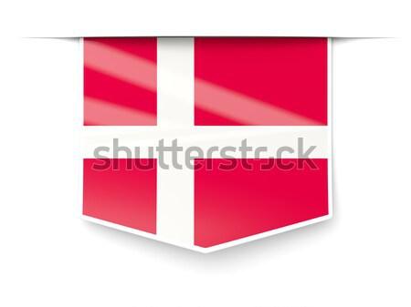Zászló címke Dánia izolált fehér felirat Stock fotó © MikhailMishchenko