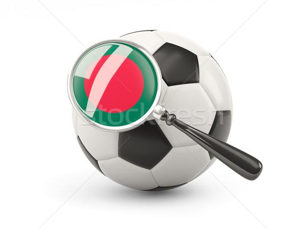 Futball nagyított zászló Banglades izolált fehér Stock fotó © MikhailMishchenko