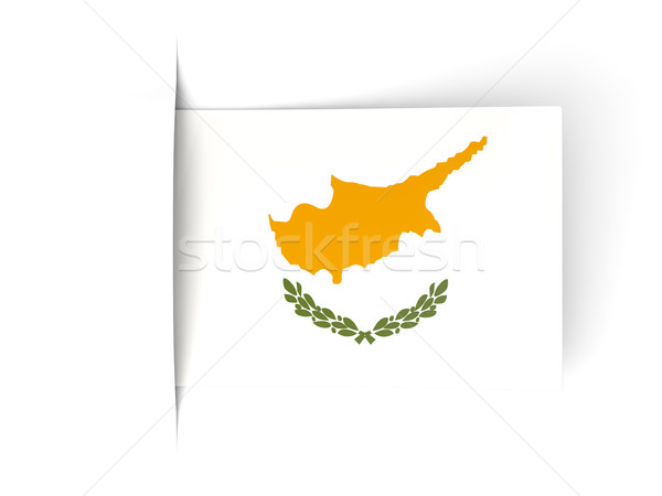 Vierkante label vlag Cyprus geïsoleerd witte Stockfoto © MikhailMishchenko