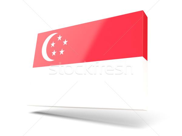 Piazza icona bandiera Singapore isolato bianco Foto d'archivio © MikhailMishchenko
