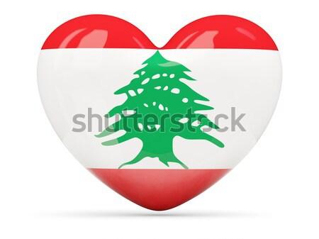 Ikon zászló Libanon fényes felirat fehér Stock fotó © MikhailMishchenko