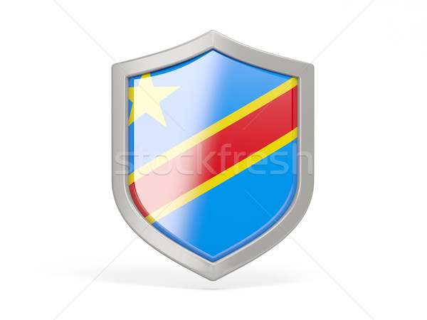Shield icon with flag of democratic republic of the congo Stock photo © MikhailMishchenko