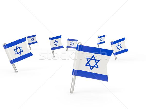 квадратный флаг Израиль изолированный белый стране Сток-фото © MikhailMishchenko