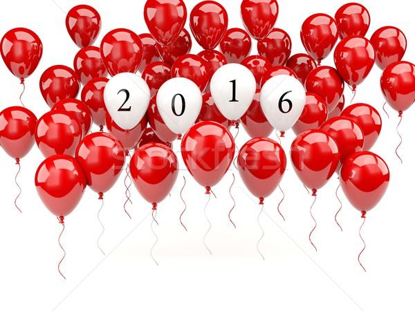 Czerwony powietrza balony 2016 nowy rok podpisania Zdjęcia stock © MikhailMishchenko