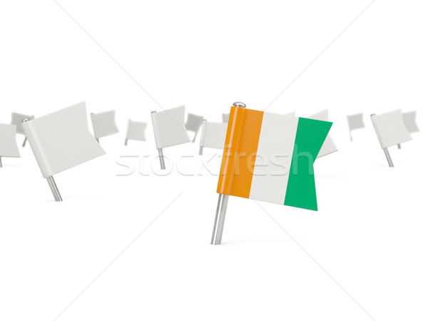 Square pin with flag of cote d Ivoire Stock photo © MikhailMishchenko