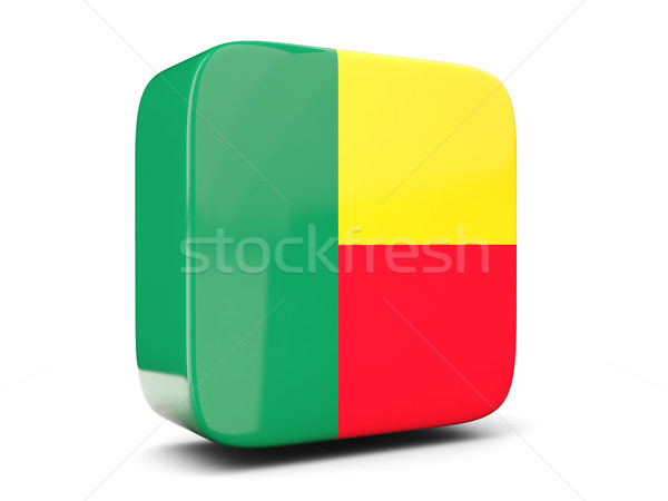 Square icon with flag of benin square. 3D illustration Stock photo © MikhailMishchenko