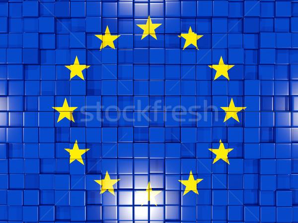 Background with square parts. Flag of european union. 3D illustr Stock photo © MikhailMishchenko