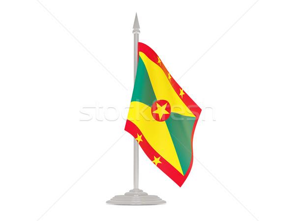 флаг Гренада флагшток 3d визуализации изолированный белый Сток-фото © MikhailMishchenko