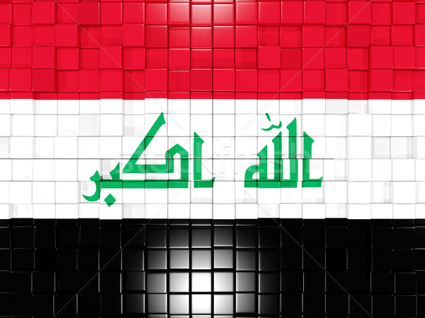 Kare bayrak Irak 3d illustration mozaik Stok fotoğraf © MikhailMishchenko