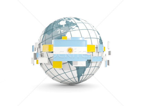 Globe with flag of argentina isolated on white Stock photo © MikhailMishchenko