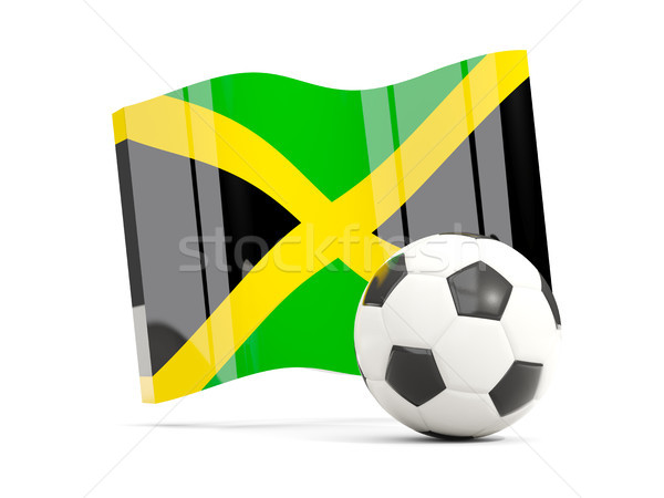 Football with waving flag of jamaica isolated on white Stock photo © MikhailMishchenko