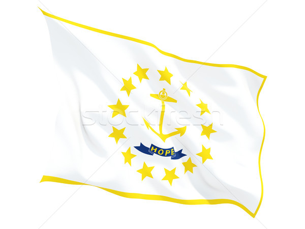Flag of rhode island, US state fluttering flag Stock photo © MikhailMishchenko