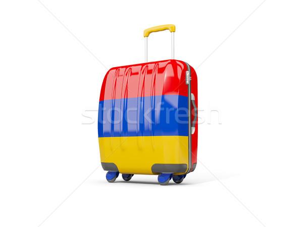 Bagagem bandeira mala isolado branco ilustração 3d Foto stock © MikhailMishchenko