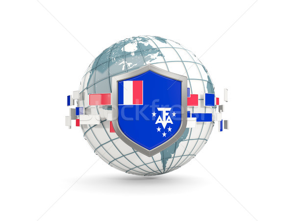 Globe and shield with flag of french southern territories isolat Stock photo © MikhailMishchenko