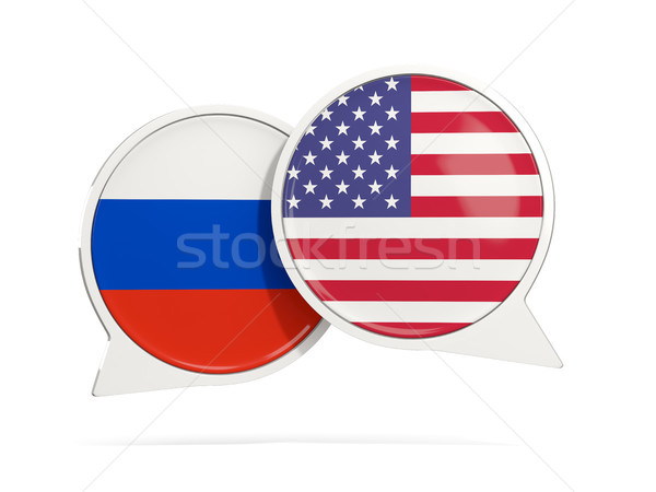 Chat burbujas Rusia EUA aislado blanco Foto stock © MikhailMishchenko