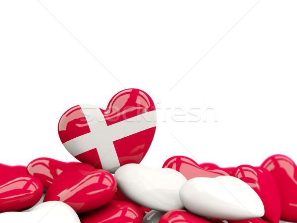 Coeur pavillon Danemark haut coeurs isolé Photo stock © MikhailMishchenko