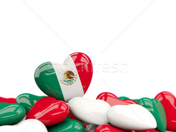 Corazón bandera México superior corazones aislado Foto stock © MikhailMishchenko