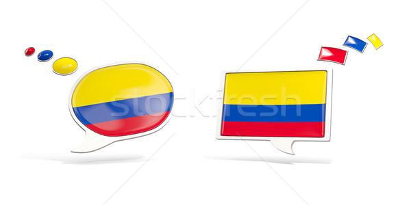 Dois conversar ícones bandeira Colômbia praça Foto stock © MikhailMishchenko