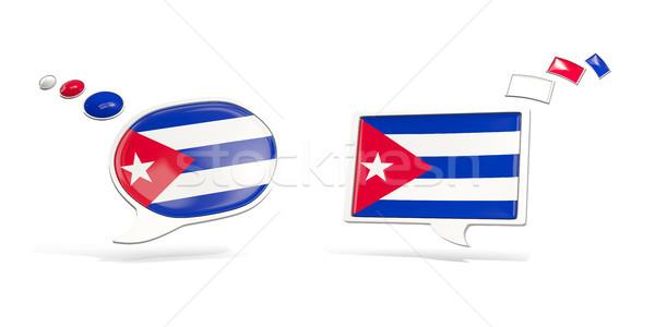 Deux chat icônes pavillon Cuba carré Photo stock © MikhailMishchenko