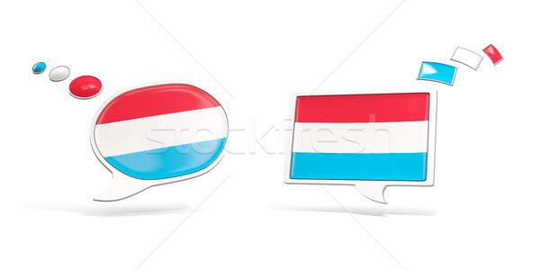 Twee chat iconen vlag Luxemburg vierkante Stockfoto © MikhailMishchenko