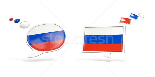 Foto stock: Dos · chat · iconos · bandera · Rusia · cuadrados