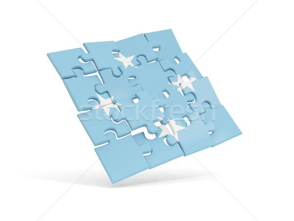 パズル フラグ ミクロネシア 孤立した 白 3次元の図 ストックフォト © MikhailMishchenko
