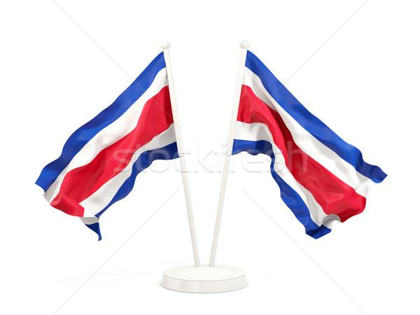Dos banderas Costa Rica aislado blanco Foto stock © MikhailMishchenko