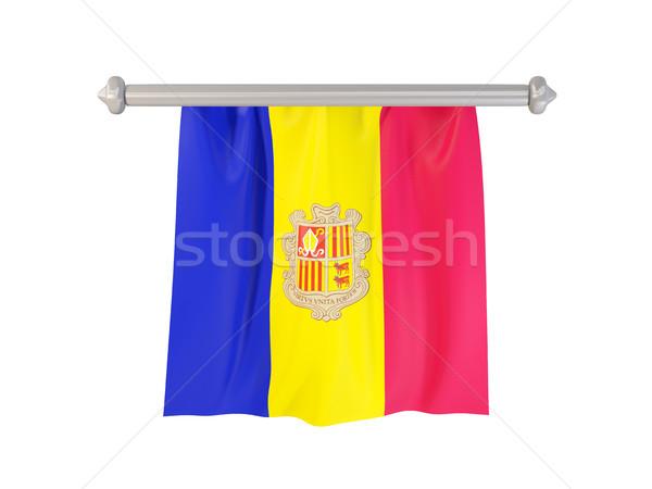 Vlag Andorra geïsoleerd witte 3d illustration label Stockfoto © MikhailMishchenko