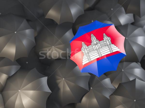 Paraplu vlag Cambodja top zwarte parasols Stockfoto © MikhailMishchenko