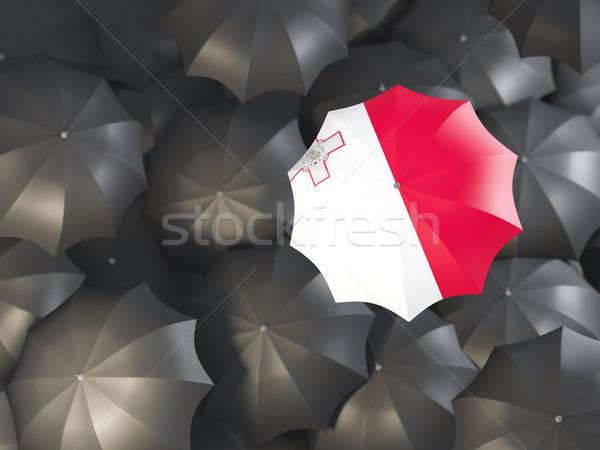 зонтик флаг Мальта Top черный Сток-фото © MikhailMishchenko