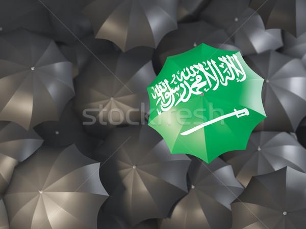 şemsiye bayrak Suudi Arabistan üst siyah Stok fotoğraf © MikhailMishchenko