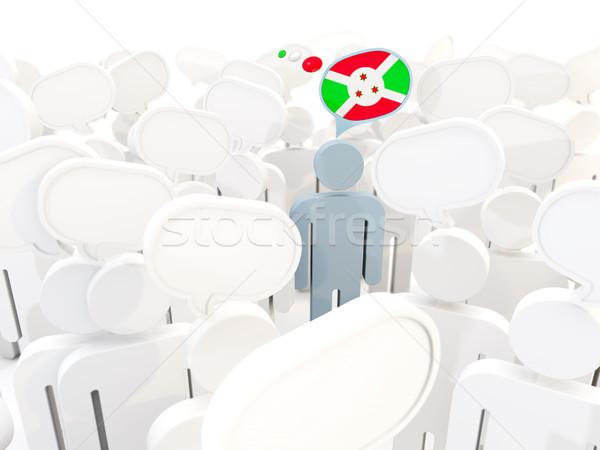 Man vlag Boeroendi menigte 3d illustration teken Stockfoto © MikhailMishchenko