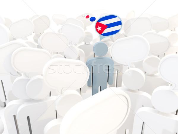 человека флаг Куба толпа 3d иллюстрации белый Сток-фото © MikhailMishchenko