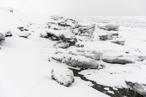 Ice at coastline of the Pacific ocean Stock photo © MikhailMishchenko
