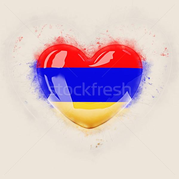 Coração bandeira Armênia grunge ilustração 3d viajar Foto stock © MikhailMishchenko