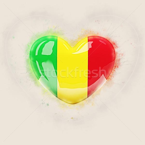сердце флаг Мали Гранж 3d иллюстрации путешествия Сток-фото © MikhailMishchenko