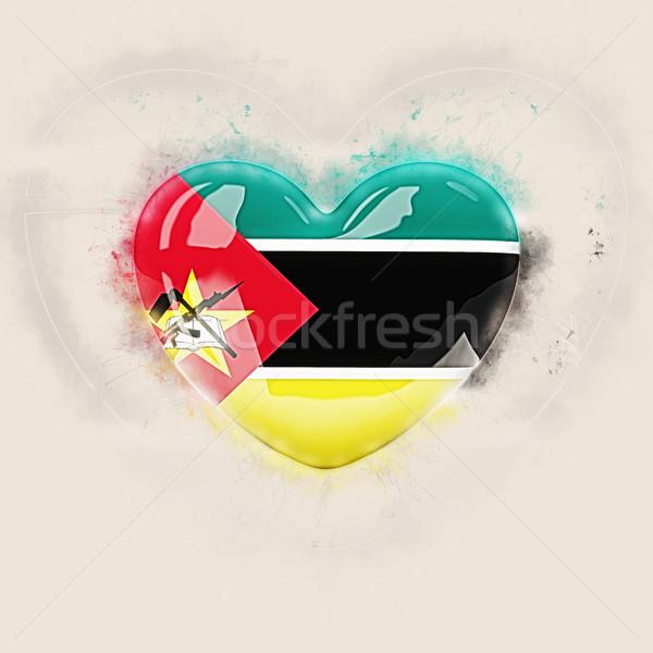 Serca banderą Mozambik grunge 3d ilustracji podróży Zdjęcia stock © MikhailMishchenko
