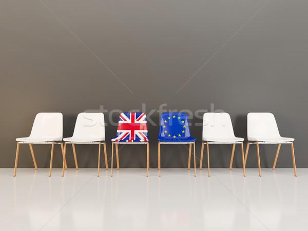 Stühle Flagge Vereinigtes Königreich Zeile 3D-Darstellung Stock foto © MikhailMishchenko