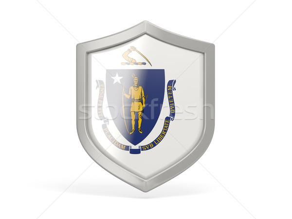 щит икона флаг Массачусетс Соединенные Штаты местный Сток-фото © MikhailMishchenko