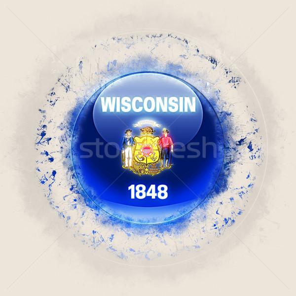 wisconsin state flag on a round grunge icon. United states local Stock photo © MikhailMishchenko