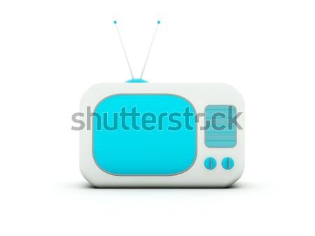 古い テレビ 孤立した 白 青 グレー ストックフォト © MikhailMishchenko