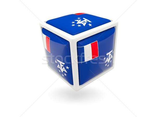 флаг французский южный куб икона изолированный Сток-фото © MikhailMishchenko