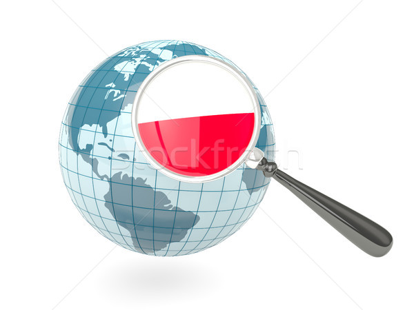 Magnified flag of poland with blue globe Stock photo © MikhailMishchenko