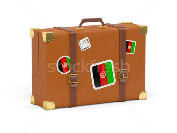 Bavul bayrak Afganistan seyahat yalıtılmış beyaz Stok fotoğraf © MikhailMishchenko