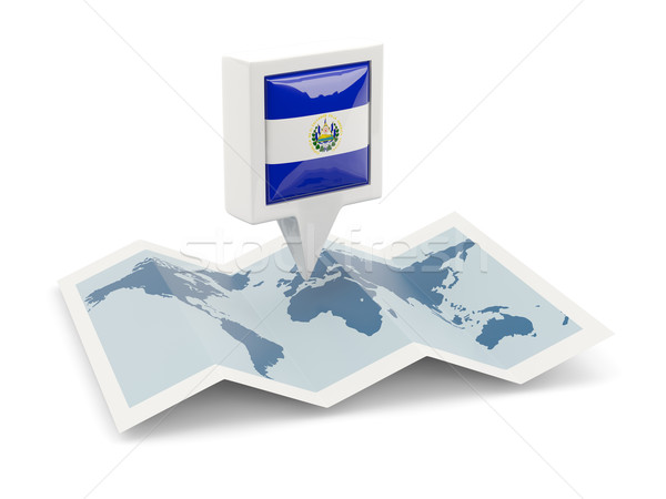 Praça pin bandeira El Salvador mapa viajar Foto stock © MikhailMishchenko